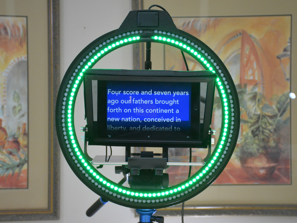 Dual Color Teleprompter Ring with Remote Controller
